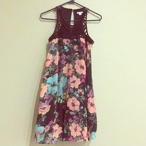 Beautiful Flower and Bird Print Casual Dress